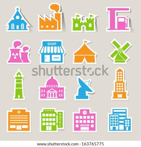 buildings icon set.Illustration EPS10