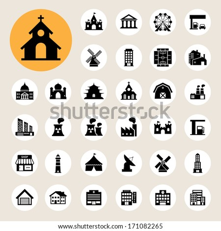 Buildings icon set.Illustration EPS10