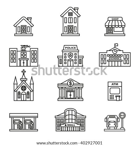 buildings icon set. Line Style stock vector.