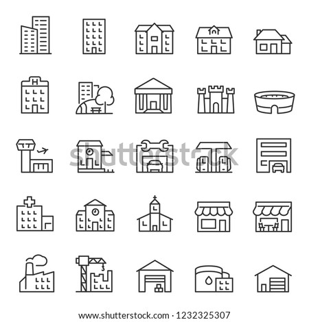 Buildings, icon set. Various city edifices, houses. linear icons. Line with editable stroke