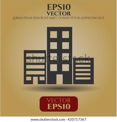 buildings icon vector symbol flat eps jpg app web concept