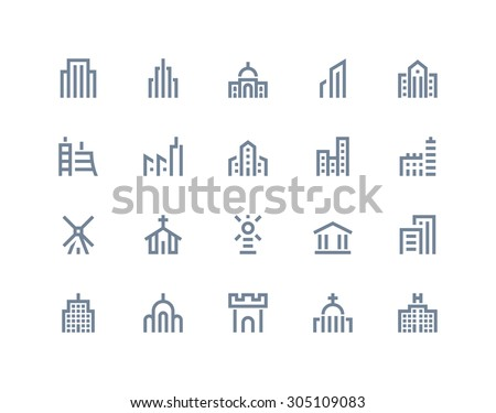 buildings icons line series