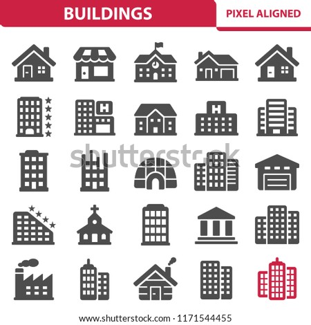 Buildings Icons. Professional, pixel perfect icons, EPS 10 format.