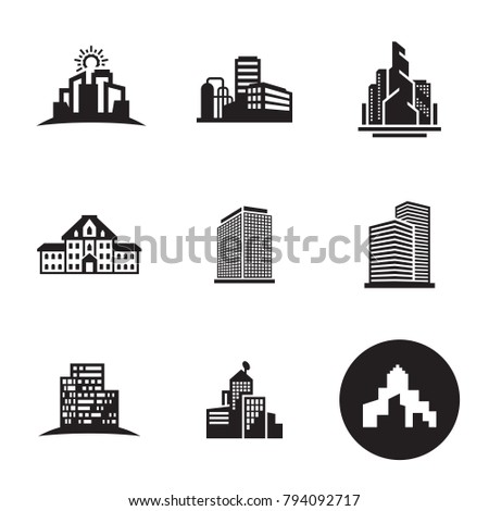 stock-vector-buildings-icons-set