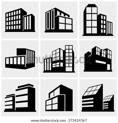 Buildings icons set on gray
