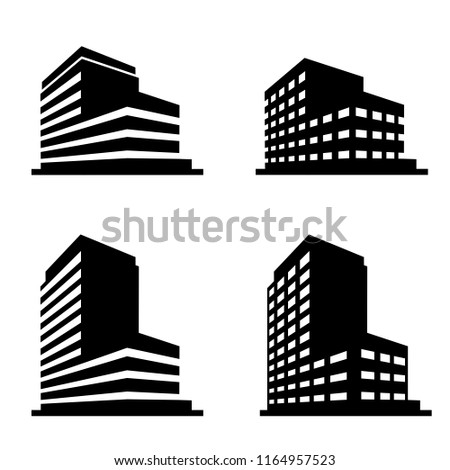Buildings icons vector.