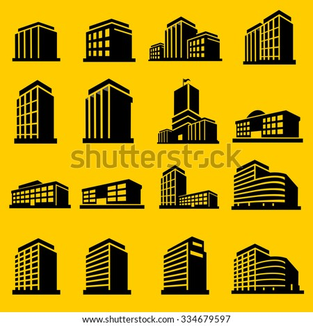 Buildings icons vector