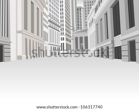 Buildings in downtown financial district in New York city