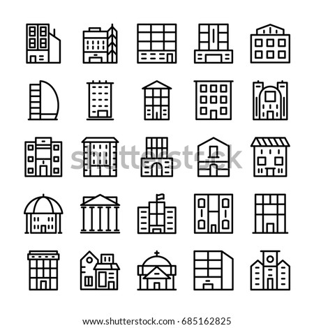 Buildings, Landmarks Line Vector Icons 7