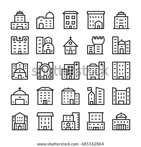 Buildings, Landmarks Line Vector Icons 12