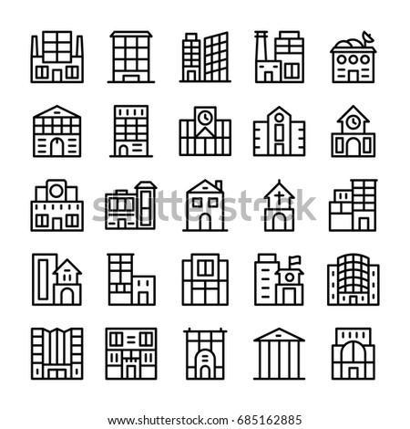 Buildings, Landmarks Line Vector Icons 6