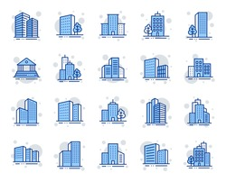 Buildings line icons. Bank, Hotel, Courthouse. City, Real estate, Architecture buildings icons. Hospital, town house, museum. Urban architecture, city skyscraper, downtown. Vector