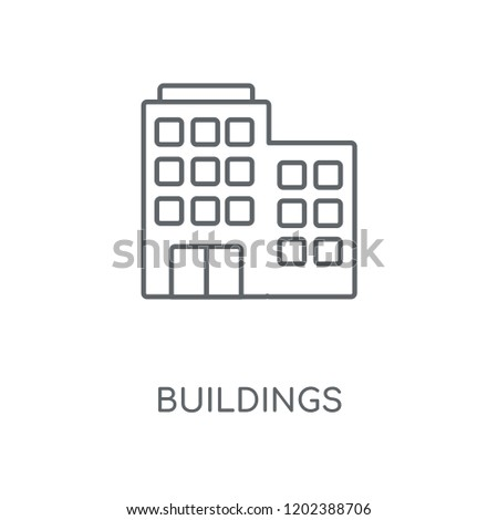 Buildings linear icon. Buildings concept stroke symbol design. Thin graphic elements vector illustration, outline pattern on a white background, eps 10.
