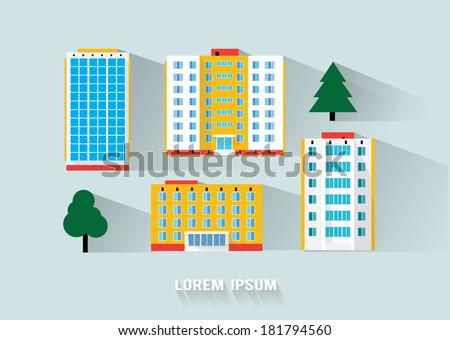 buildings long flat shadow design