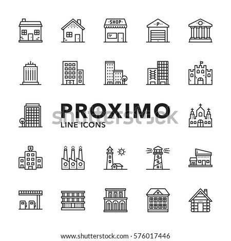 Buildings Modern Futuristic Line Vector Icons