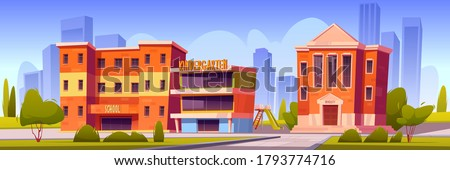 Buildings of school, kindergarten and university on town street. Vector cartoon landscape with education houses, of college, primary or elementary school, daycare with playground in backyard