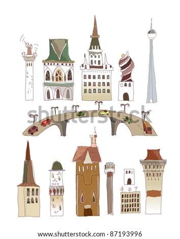 Buildings of the big city (set)