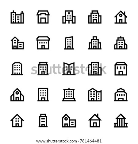Buildings Outline Icons 3