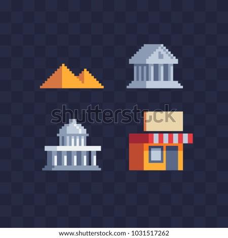 buildings pixel art set world...