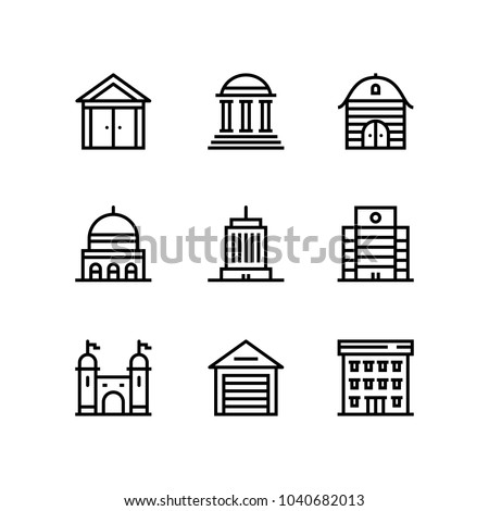 Buildings, real estate, house icons for web and mobile design pack 3
