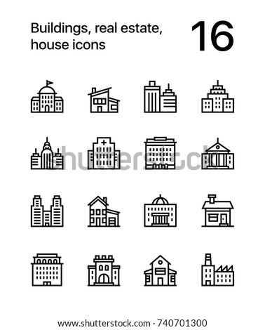 Buildings, real estate, house icons for web and mobile design pack 2
