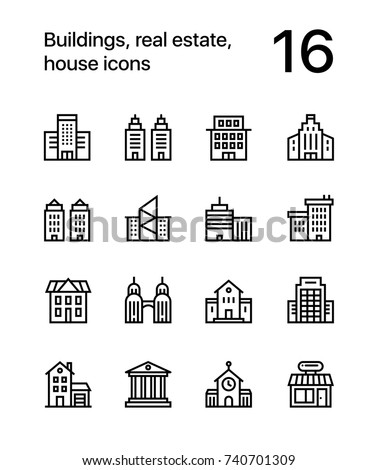 Buildings, real estate, house icons for web and mobile design pack 1