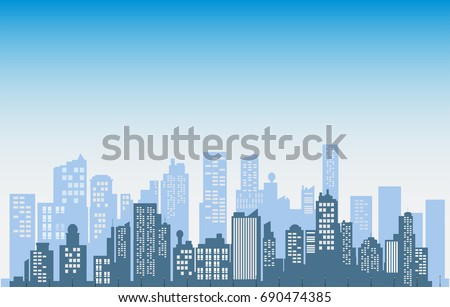 Buildings silhouette cityscape background.  Modern architecture. Urban landscape. vector illustration