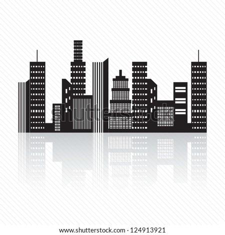 Buildings silhouette, on white background. Vector Illustration