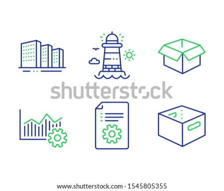 Buildings, Technical documentation and Lighthouse line icons set. Operational excellence, Opened box and Office box signs. City architecture, Manual, Beacon tower. Corporate business. Vector