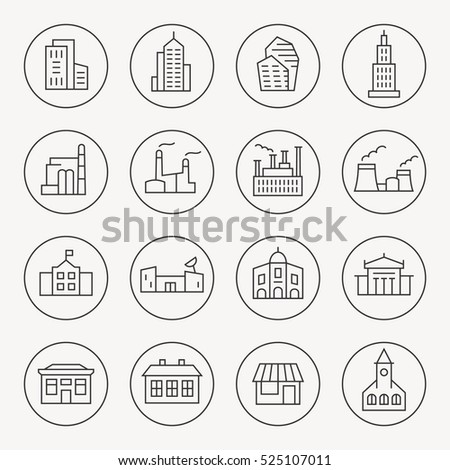Buildings thin line icon set