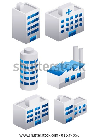 Buildings vector collection set 3D