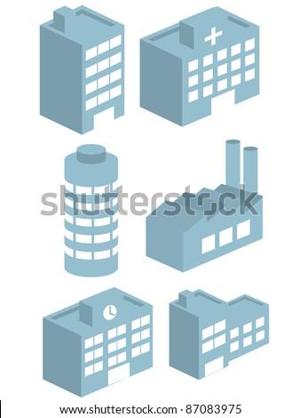 Buildings vector collection set 3D