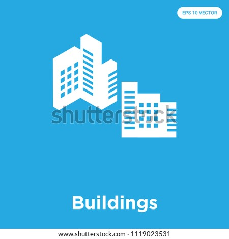 Buildings vector icon isolated on blue background, sign and symbol, Buildings icons collection