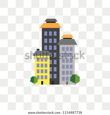 Buildings vector icon isolated on transparent background, Buildings logo concept