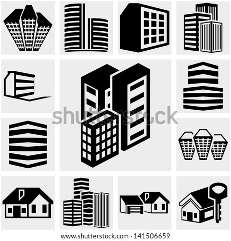 Buildings vector icon set on gray