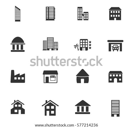 buildings vector icons for user interface design