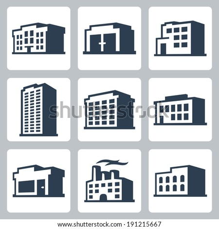 Buildings vector icons set, isometric style #2