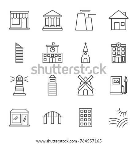 Buildings vector icons set line style