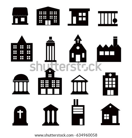 Buildings vector icons set on white background. Vector Illustration