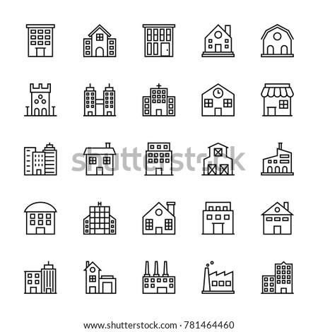 Buildings Vector Line Icons 1