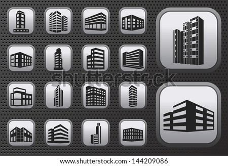 Buildings vector web icons set on metal button
