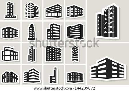 Buildings vector web sticker icons set