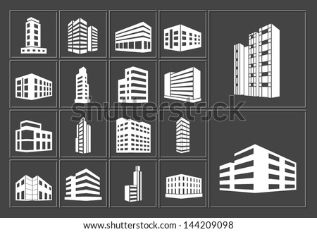 Buildings vector white web icons set on dark background