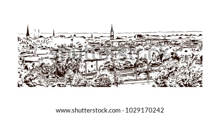 Buildings view of Louisville City in Kentucky, USA. Hand drawn sketch illustration in vector.