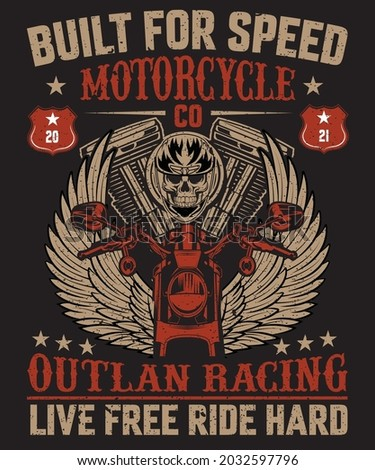 BUILT FOR SPEED MOTORCYCLE CO  T- SHIRT DESIGN FOR BIKERS Photo stock ©