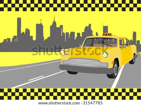 buisness card of taxi, vector illustration