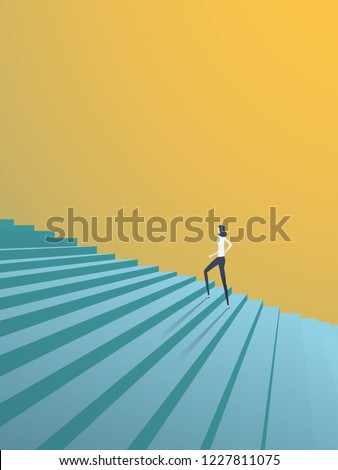 Buisnesswoman climbing career steps vector concept. Symbol of ambition, motivation, success in career, promotion. Eps10 vector illustration.