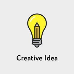 Bulb And Pencil Creative Idea Minimalistic Color Flat Line Stroke Icon Pictogram Illustration