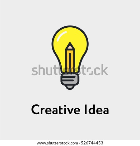 Stock Photo Bulb And Pencil Creative Idea Minimalistic Color Flat Line Stroke Icon Pictogram Illustration