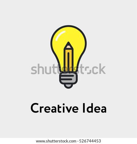 Stock Photo Bulb And Pencil Creative Idea Minimalistic Color Flat Line Stroke Icon Pictogram Illustration